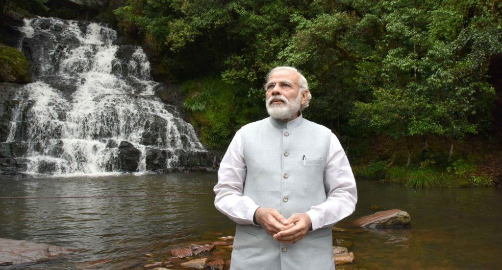 The Prime Minister, Shri Narendra Modi at the Elephant Falls, in Meghalaya on May 28, 2016.