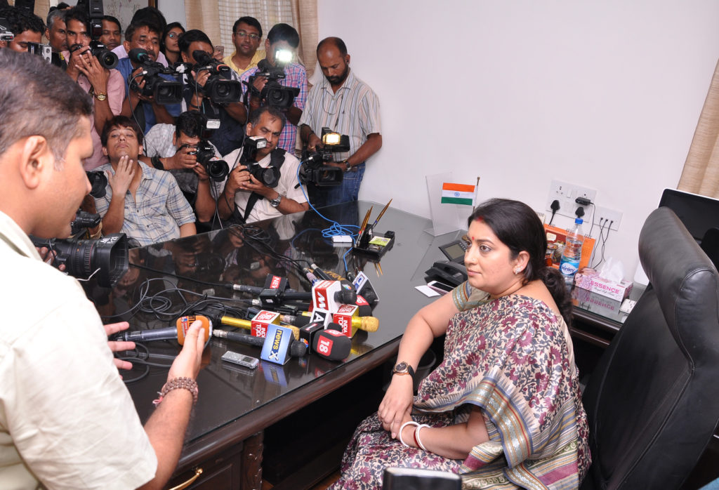 Smt. Smriti Irani interacting with media persons, on taking charge as the Union Textiles Minister, in New Delhi on July 06, 2016.