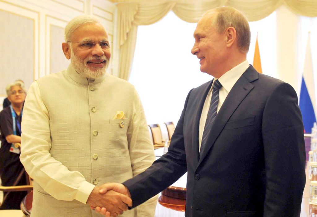 The Prime Minister, Shri Narendra Modi and the President of Russian Federation, Mr. Vladimir Putin at the bilateral meeting, on the sidelines of the Shanghai Cooperation Organisation (SCO) summit, in Tashkent, Uzbekistan on June 24, 2016.