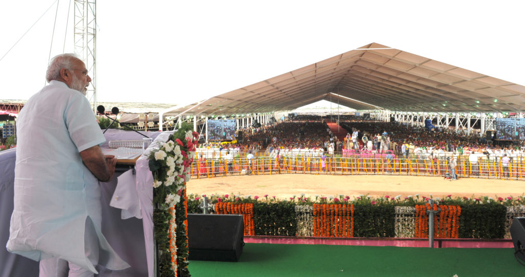 The Prime Minister, Shri Narendra Modi addressing a public meeting, at Gajwel, Medak District, in Telangana on August 07, 2016.